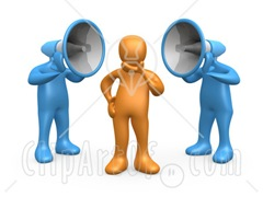 19269-Clipart-Illustration-Of-Two-Blue-Megaphone-Headed-People-Shouting-At-An-Orange-Person-Trying-To-Influence-His-Beliefs